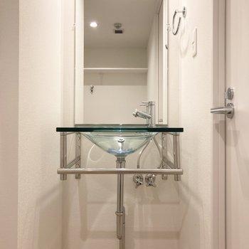 スケルトンな洗面台が素敵です。(※写真は3階の同間取り別部屋のものです)