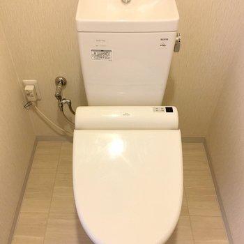 ピカピカのおトイレ。後ろに小さめの棚があります。