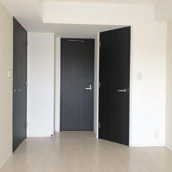 【Bedroom】真ん中の扉の奥には脱衣所、右はクローゼットです。※写真は5階同間取り別部屋、通電前・清掃前のもので、一部フラッシュを使用しています。
