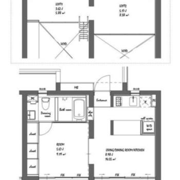 お部屋もロフトも2等分された様な間取りです。