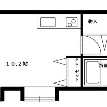 広めのワンルーム、お部屋は角部屋です
