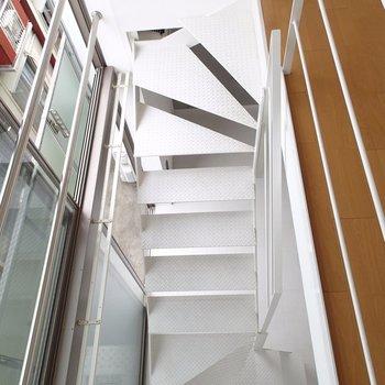 上から階段を望むとこんな感じ