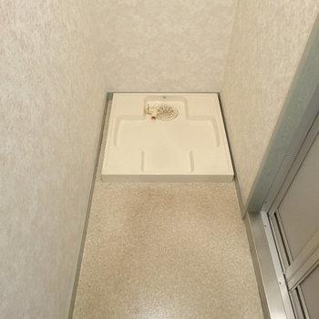 脱衣スペースに洗濯パン。(※写真は9階の反転間取りの別部屋のものです)