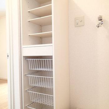 棚と洗濯機置場もウォークインクローゼットの中にあります