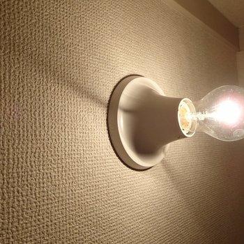 こちらはトイレの照明。天井じゃなくて壁にあります。