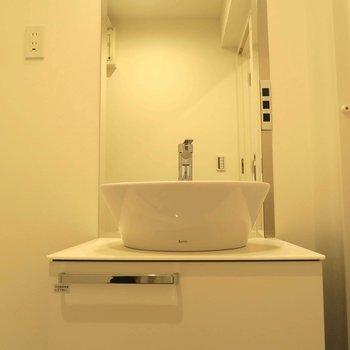 洗面台の隣には洗濯バン ※写真は同間取り別部屋