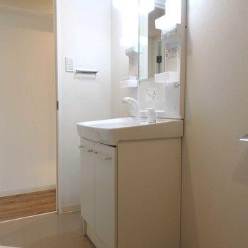 洗面台はトイレの近く。
