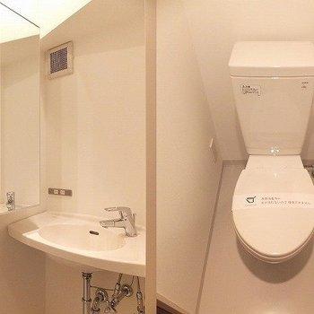 トイレと洗面台は同室です。*写真は別部屋です