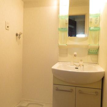 脱衣所には独立洗面台を完備(※写真は5階の同間取り別部屋のものです)
