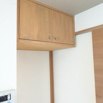 冷蔵庫置場の上にも扉付きの収納が。ちょっと高い位置にあります。