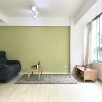 片側は街路樹と同じ淡いグリーン。テレビとソファを置いてくつろぎスペースに(※写真の家具小物は見本です)