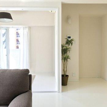 黄色い扉は玄関へと繋がっています。この位置に植物置くと非常に映えますね。(※写真は2階同間取り別部屋のもの、家具と小物は見本です)