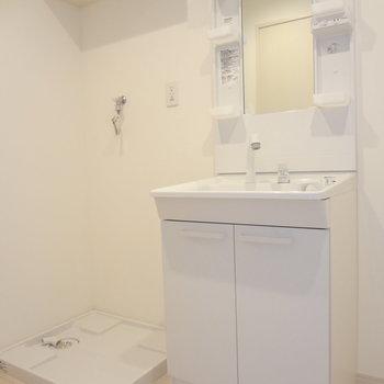 洗面台も洗濯パンもきれいです。ドレッサータイプなのが嬉しい。