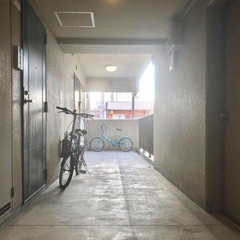 共用部。駐輪場は無いので自転車は玄関前に。
