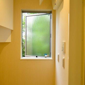 洗面所からは緑が