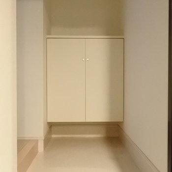 こちらがシューズボックス。玄関も広め。(※写真は3階の同間取り別部屋のものです)