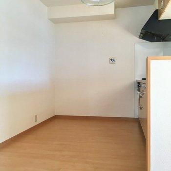 キッチンはこんなに広い。冷蔵庫棚は後ろに!