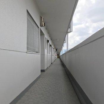 共用廊下も長い!綺麗に清掃されていました。