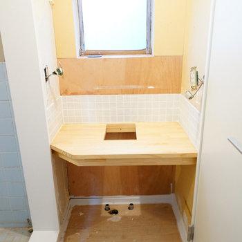 洗面台の土台が完成♪※写真は工事中です