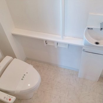 トイレには小さな洗面台があります