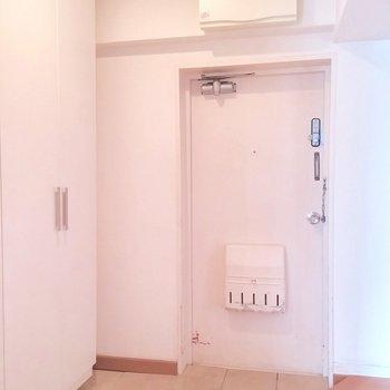 大きなシューズボックスのある玄関