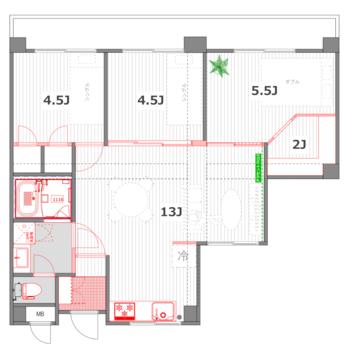 3部屋の小部屋とリビングのつながりのある間取りに