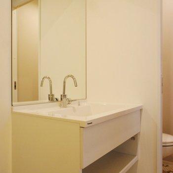 鏡の大きな洗面台