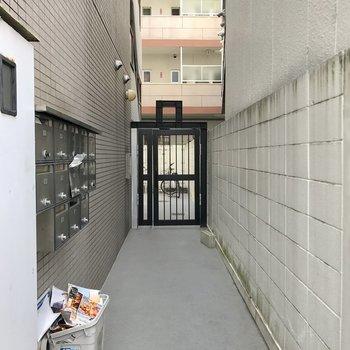 マンション入り口。正面の扉、オートロックです。