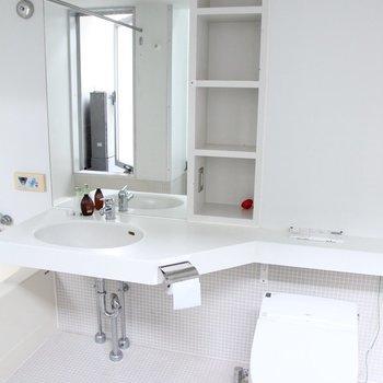 洗面台横には収納が。コンセントもあるので朝の支度はこちらで済みそうです。※写真は3階の同間取り別部屋のものです。