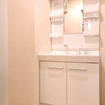 大きな洗面台で朝の支度もラクラク!(※写真は9階の同間取り別部屋のものです)
