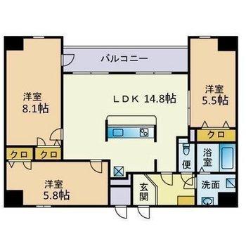 3〜4人家族で住みたい3LDKのお部屋。