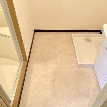 脱衣所に洗濯機を置けます。(※写真は6階の反転間取り別部屋のものです)
