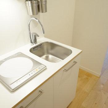 キッチンはIH1口で可愛いデザイン◎※写真は前回募集時のものです