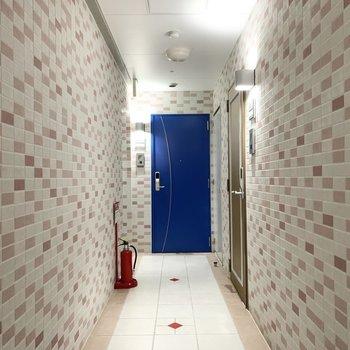 共用廊下は戸別にドアの色が違います。タイルのかわいい空間です。