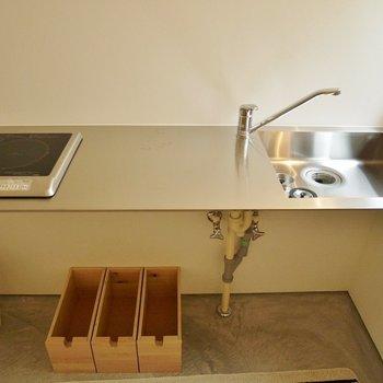調理スペースは広々!残念ながらコンロ1口…※写真は前回募集時のもの