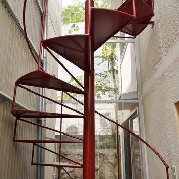 自慢したくなるようなお洒落な螺旋階段!。※写真は、前回撮影時のもの