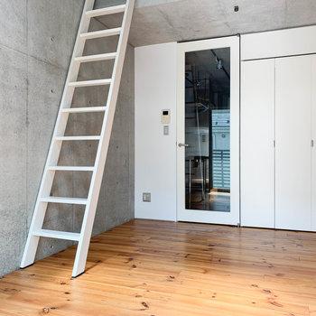 窓側から見ると。廊下への扉と収納、ハシゴに白をあしらっています。