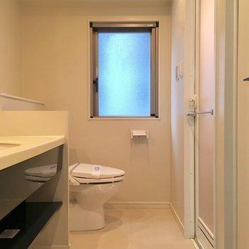 トイレは奥で同じ空間にあります。※写真は6階の同間取り別部屋のものです。