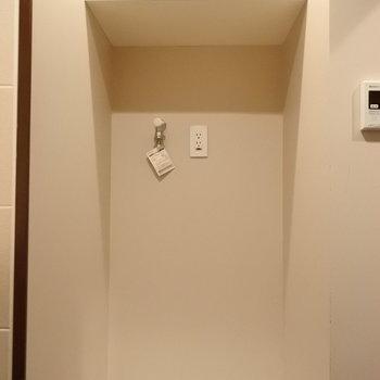 洗濯機置き場にもしっかり収納。洗剤置き場に困らない。
