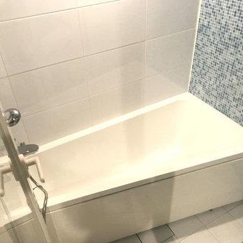 斜めの浴槽がかわいい。