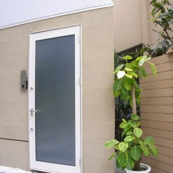 扉の横に観葉植物。