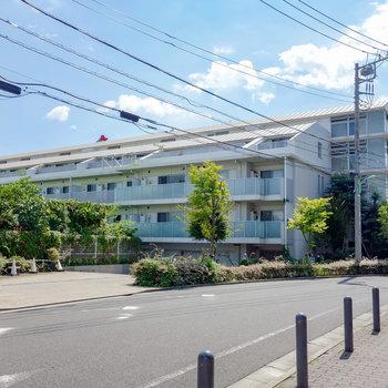 坂の上に建つ、136戸の綺麗なマンションです。