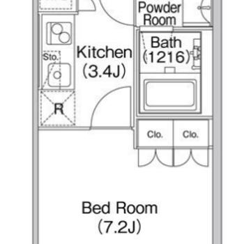居室とキッチンは1枚ドアを挟んで1Kです。