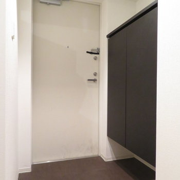 玄関は一人暮らしにちょうどいい広さです(※写真は3階の同間取り別部屋のものです)