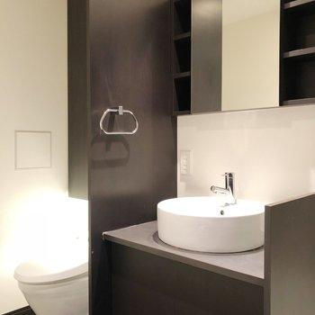 洗面所の上に身だしなみグッズを収納できます※写真は14階の同間取り別部屋のものです