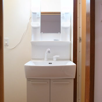 使いやすい大きさの洗面台。となりに棚を置けそう。