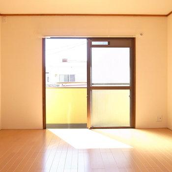 洋室はバッチリ南向きで、明るい日差しが入ってきていました。