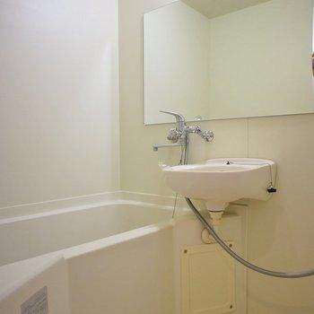 お風呂は2点ユニットです。鏡が大きいのが嬉しい!