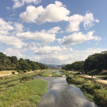 徒歩10分足らずのとこにある鴨川。お散歩コースに。