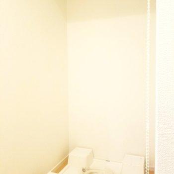 洗濯機はこちらへ。ロールスクリーンで隠せちゃいます。※写真は2階の反転間取り別部屋のものです